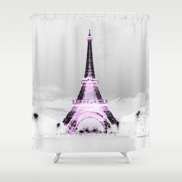 PariS Black White Lavender Shower Curtain By Vintageby2sweet