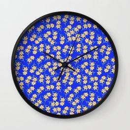 Yellow Lilies on Cornflower Blue Background Wall Clock