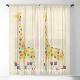 Paint by number giraffe Sheer Curtain