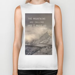 The Mountains are calling, and I must go.  John Muir. Vintage. Biker Tank