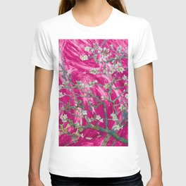 Vincent van Gogh Blossoming Almond Tree (Almond Blossoms) Pink Sunset T-shirt