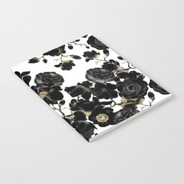 Modern Elegant Black White and Gold Floral Pattern Notebook