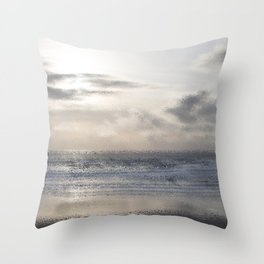Silver Scene ~ Ocean Ripple Effect Throw Pillow
