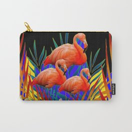 ABSTRACT BLACK-PURPLE FLORIDA FLAMINGO WATER LILIES Carry-All Pouch