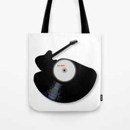 Rock Music Silhouette Record Tote Bag