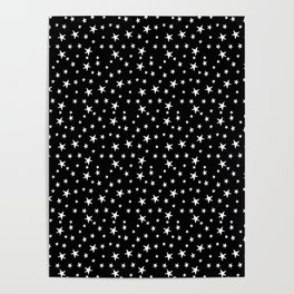 Mini Stars - White on Black Poster