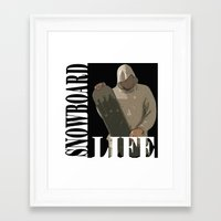 snowboard Framed Art Prints featuring SNOWBOARD LIFE  by Robleedesigns