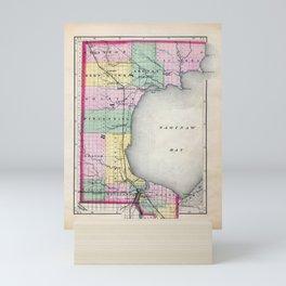 Bay County Michigan Map Mini Art Print