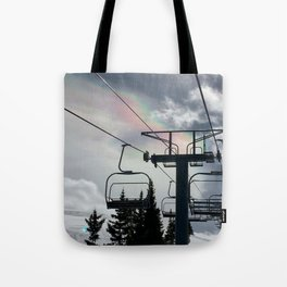 4 Seat Chair Lift Rainbow Sky \\ The Mountain Sun Rays \\ Spring Skiing Colorado Winter Snow Sports Tote Bag