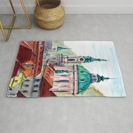 Prague Czech Republic watercolor Rug