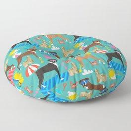Boxer dog breed beach summer fun dogs boxers pet portrait pattern Floor Pillow