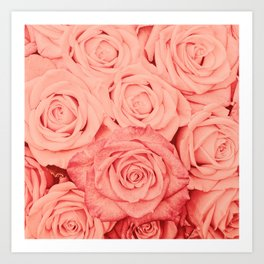 Some People Grumble - Living Coral Roses Garden Art Print