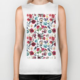 Burgundy pink teal blue watercolor boho floral Biker Tank