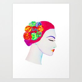 The Girl with the Flowers in her Hair Art Print