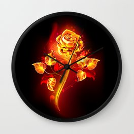 Fire Rose Wall Clock