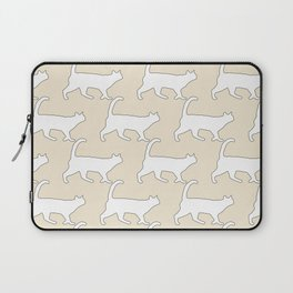 Minimal Cat Pattern Tan and White Simple Line Laptop Sleeve