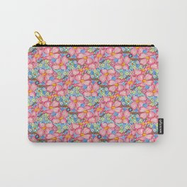 Tiled Pink Dogwood Flowers on Blue Background Carry-All Pouch