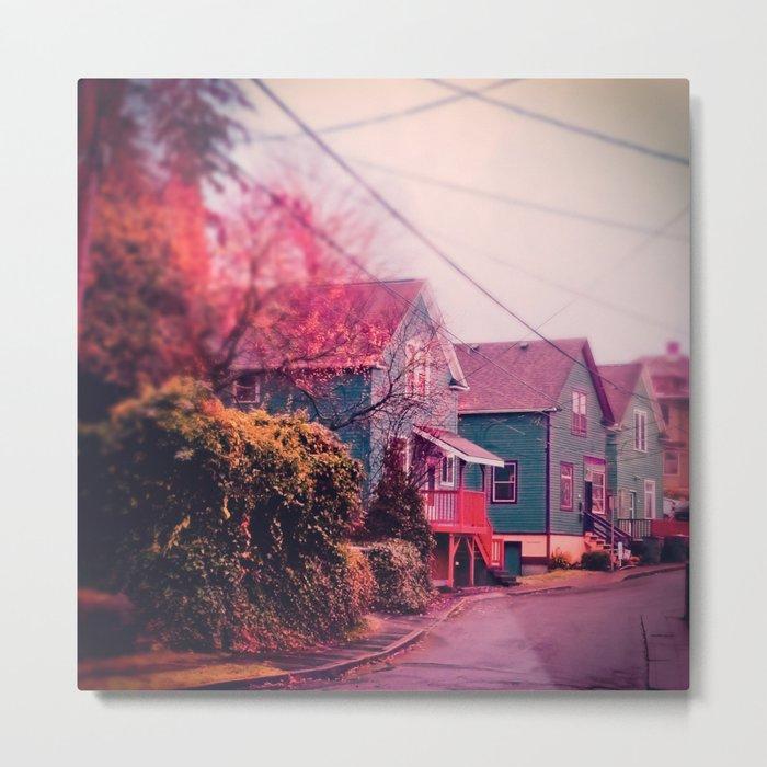 Astoria Oregon Neighborhood Houses, Grand Street in October Metal Print
