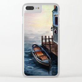 Lakeside Dock Clear iPhone Case