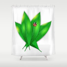 Green leaves and ladybug Shower Curtain