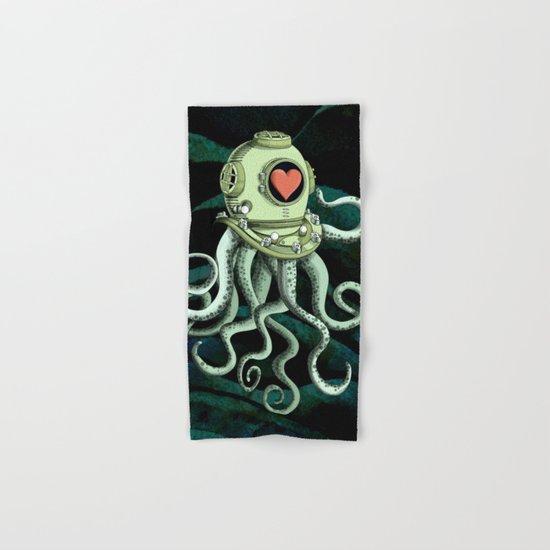 octopus diver in love Hand & Bath Towel