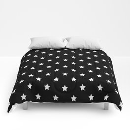 Black Background With White Stars Pattern Comforters
