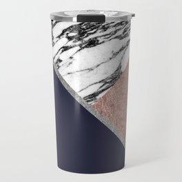 Marble Rose Gold Navy Blue Triangle Geometric Travel Mug