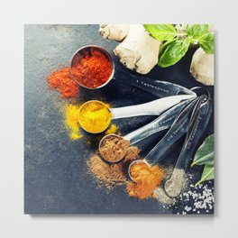 Herbs and spices selection, close up Metal Print