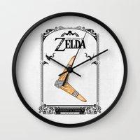 the legend of zelda Wall Clocks featuring Zelda legend - Boomerang by Art & Be