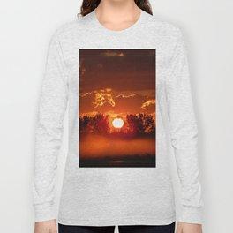 Flaming Horses over the Foggy Sunrise Long Sleeve T-shirt