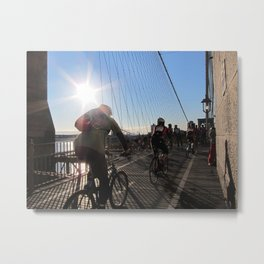 Cyclists on the Brooklyn Bridge Metal Print
