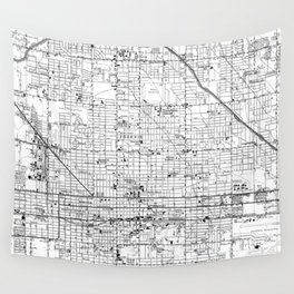 Vintage Map of Phoenix Arizona (1952) 2 BW Wall Tapestry