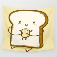 bread Wall Tapestries featuring Bread & Butter by Robo Rat