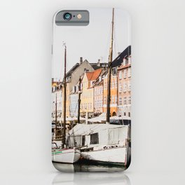 The Row   City Photography of Boats and Colorful Houses in Nyhavn Copenhagen Denmark Europe iPhone Case