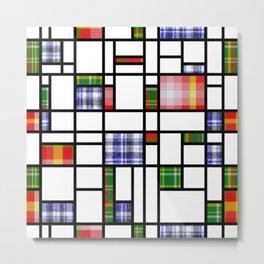 Plaid Modern Art Grid Pattern Metal Print