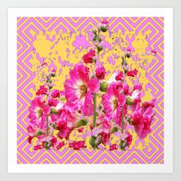 Modern Art Fuchsia Pink Colored  Hollyhocks Pattern Art Print