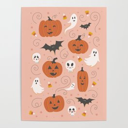 Pumpkin Party on Blush Pink Poster