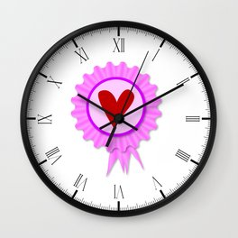 Love Heart Rosette Wall Clock