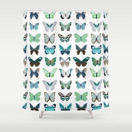 Green and Blue Butterflies Shower Curtain