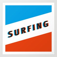 SURFING 3D - Square Art Print