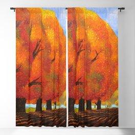 Autumn Blaze Red Maple Trees, October Harvest landscape painting by O. Kvasha Blackout Curtain
