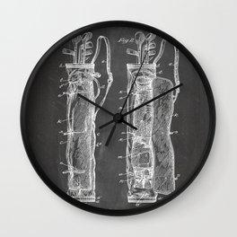 Golf Bag Patent - Caddy Art - Black Chalkboard Wall Clock