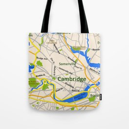 Map of Cambridge, MA, USA Tote Bag