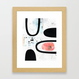 Labyrinth black ink collage Framed Art Print