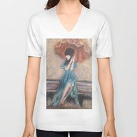 umbrella V-neck T-shirts featuring Umbrella by Alyssa Leigh