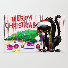 Evil Black Cat VS Christmas Tree Rug