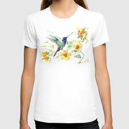 Hummingbird and Flowers, floral design Hawaiian tropical T-shirt