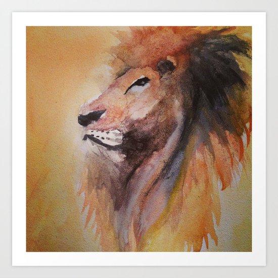 Lion Watercolor  Art Print