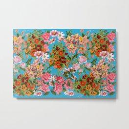 Floral pattern on a light blue background  Metal Print