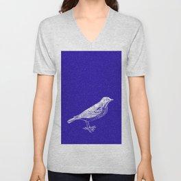 Blue Bird in the Snow Unisex V-Neck
